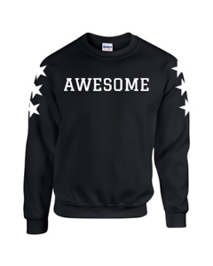 AWESOME Sweater Sweatshirt Jumper with Stars on Sleeves Christmas Birthday Gift