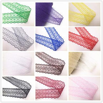 Beautiful!10Yard Bilateral Handicrafts Embroidered Net Lace Trim Ribbon Gray