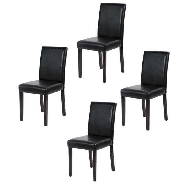 4 Urban Style Leather Dining Chairs, Black Wooden Dining Chairs Set Of 4