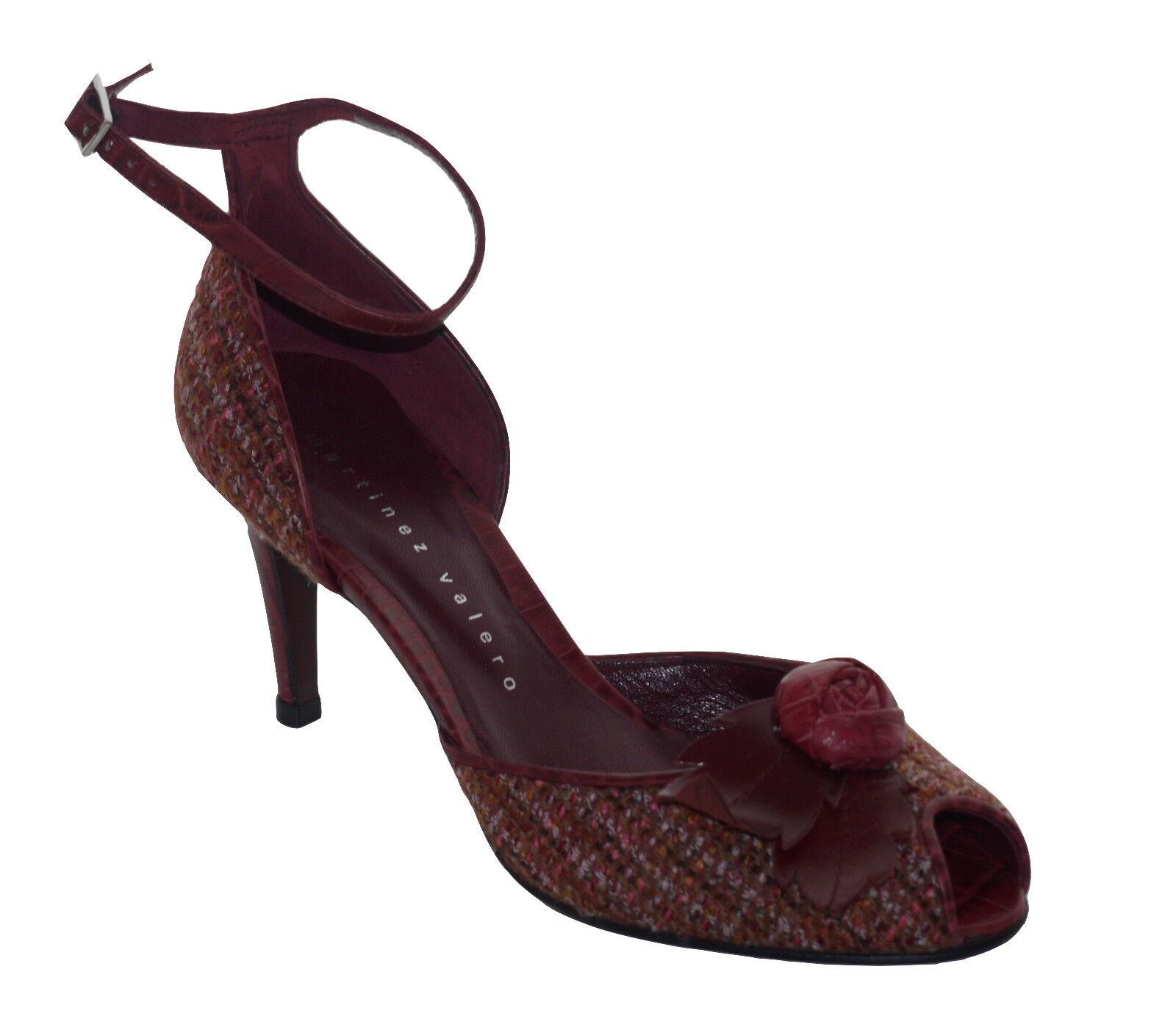 Martinez Toes Valero Cherry Tweed Peep Toes Martinez Shoes NIB SP 11bdc2
