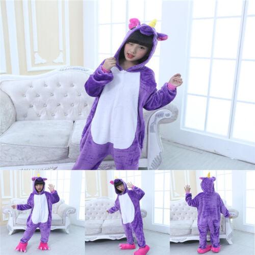 Kids Girls Boys 3D Animal Unicorn Hoodie Soft Jumpsuit Cosplay Pajamas Sleepwear