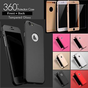 For-Apple-iPhone-X-8-8-7-7-Hybrid-360-Shockproof-Case-Tempered-Glass-Cover