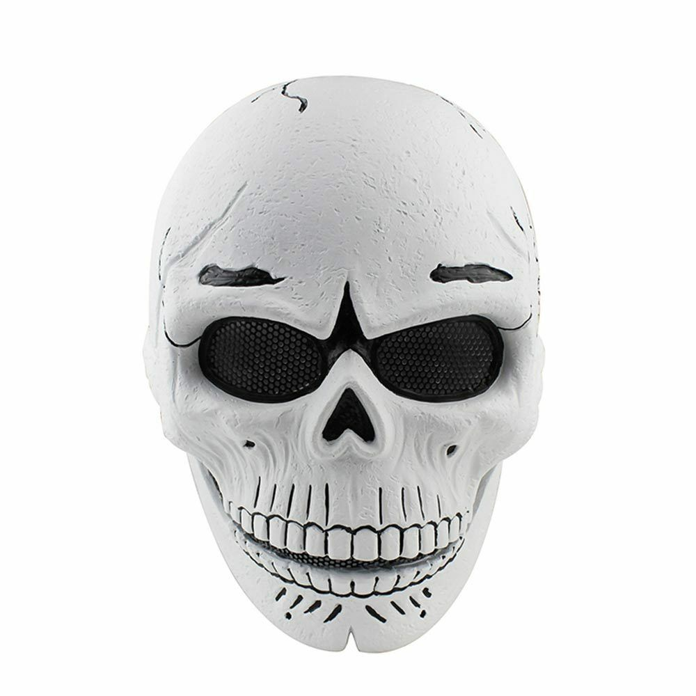 Weiß Full Face Protection Fabric Resin Wire Mesh CS Airsoft Airsoft Airsoft Ghost Skull Mask e448ce