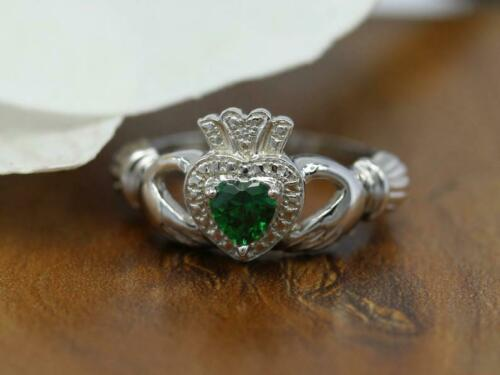 1ct Heart Cut Green Emerald Engagement Ring Claddagh Irish 14k White Gold Over