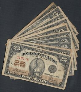 1923-DOMINION-OF-CANADA-25-CENTS-BANK-NOTES-LOT-OF-10