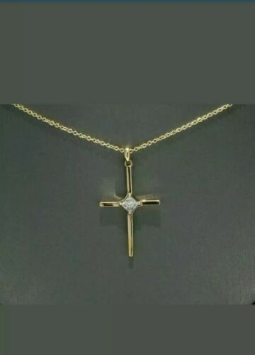 Details about  /3.5mm Princess Cut Moissanite Cross Necklace in 14k Yellow Gold Over