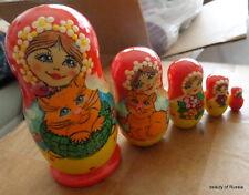 Superb girls & cat RUSSIAN NESTING DOLL 5 PCS  LARGE 4.2*