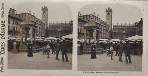 Verona Piazza Delle Erbe Italia Foto Stereo Vintage Analogica