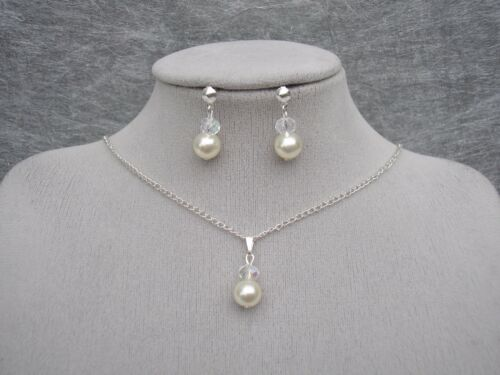 "Pearl Crystal 18/"" Necklace Earrings Jewellery Set Bridesmaid Bridal Wedding 15F"