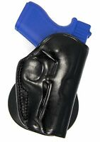 Premium Black Leather Quick Draw Open Top Paddle Holster For Ruger Sr9c Sr40c