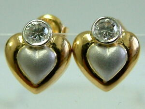 Details About Fine Quality 18ct Yellow White Gold Heart Shaped Earrings Studs With Diamonds