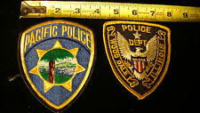 2 vintage Police Patches, Pacific Police & Wood Dale, Illinois Lot #13