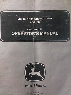 John Deere 46 Quick Hitch Snow Thrower Implement Owners Manual Garden Tractor EBay