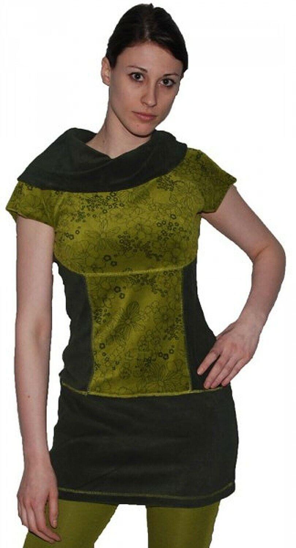 Boho Oberteil aus Samt Tunika Minikleid LangeHemd mit Rollkragen Grüntöne