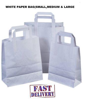 100 Medium White SOS Kraft Takeaway Food Party Gift Paper Handle Carrier Bags