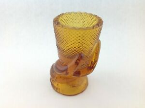 Small-Single-Vintage-Art-Deco-Amber-Hand-Holding-a-Vase-3-5-inches-Tall