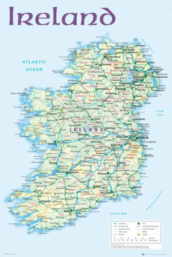 Map of Ireland Maxi size 91.5 x 61cm Poster Education Aid New 36in X 24in