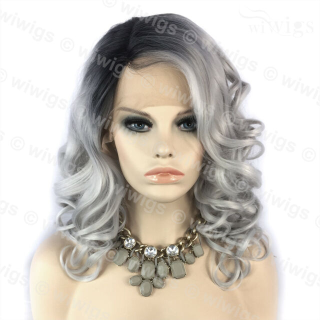 Wiwigs Ombre 2 Tones Lace Front Wig Curly Dark Roots Long Silver