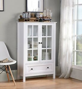 White Wood China Hutch Curio Cabinet Kitchen Storage