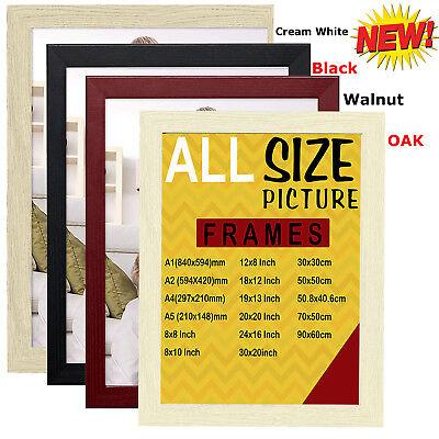 Black White Walnut Oak Wood Picture Frame Photo Frames Poster Flat 1 A2 A3 A4 A5