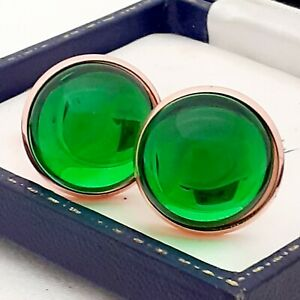 Vintage-Peridot-Green-Glass-Cabochon-Large-Round-Rose-Goldtone-Cufflinks