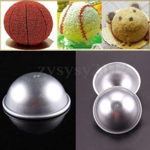 3 Sizes 3D Aluminum Ball Sphere Bath Bomb Cake Pan Tin Baking Mold Pastry Mould