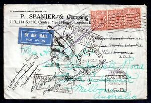 GB-KGV-1933-Airmail-very-interesting-Postal-Cover-Multi-Cachet-WS18055