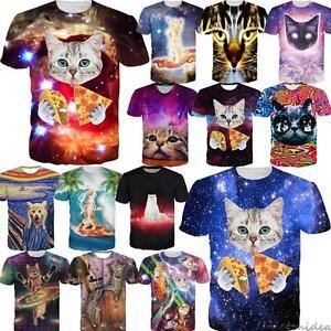 Unisex-3D-Print-Pizza-Kitty-Cat-Series-T-Shirt-Short-Sleeve-Women-Men-Tees-Tops