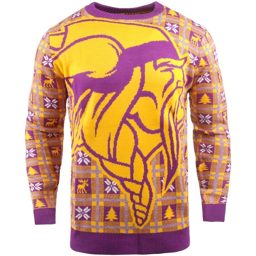 NFL Ugly SWEATER Minnesota Vikings Pullover Christmas Style Big Logo Football 18