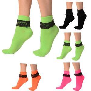 Aggressiv Rock N Roll Ladies Fancy Dress Womens Socks Girls Ankle Lace Frilly Pair Socks GläNzend