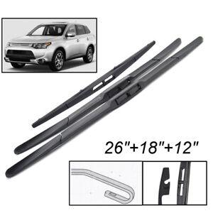Front Rear Windshield Wiper Blades Set For Mitsubishi Outlander 13 19 26 18 12 Ebay
