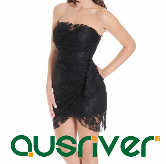 Fashion Woherren Lace Short Dresses Party Clubing Off-Shoulders schwarz Only
