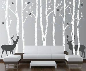 Image Is Loading Birch Tree Wall Decal Forest With Birds And