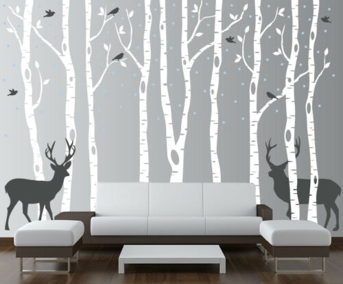 Birch Tree Wall Decal Forest with Birds and Deer Vinyl Sticker Removable Nursery