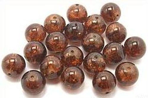 b2-2 12 mm 20 perles de verre Crackled Marron #16