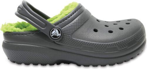 Crocs 203506 CLASSIC LINED Kids Warm Lined Slip On Clogs Slate Grey//Volt Green