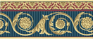 Victorian-Red-Blue-Stripe-Golden-Medallion-Acanthus-Leaf-Scroll-Wallpaper-Border