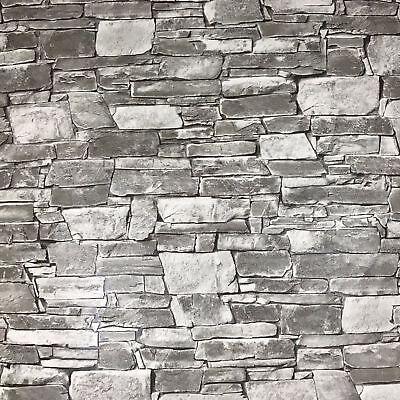 Wallpaper Textured Rolls Grey Black Modern Brick Stone 3d Effect Wall Coverings Ebay