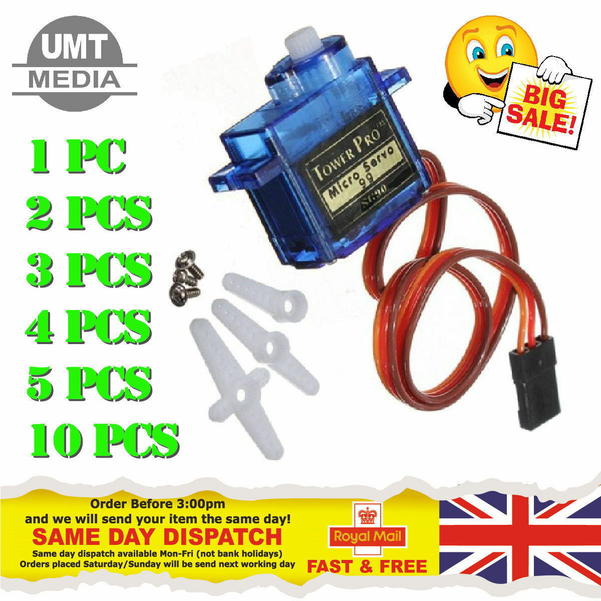 New SG90 9G Micro Servo Motor RC Robot Arm Helicopter Airplane Remote Control