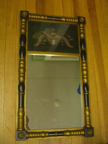 Vintage HITCHCOCK CT Mirror Reverse Harvest Fruit Gold Accents c.1970