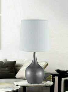 Niyor Powder GRAY Metal 3 Way Table Touch Lamp with linen shade  23IN H.