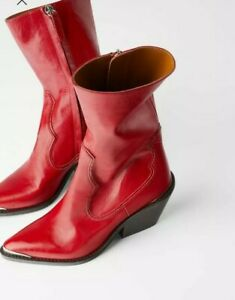 Rare Zara Red Leather Western Boots NWT