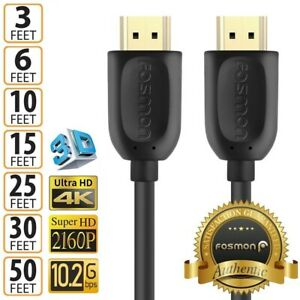 HDMI Cable Cord 1.4 4K 3D HDTV PC Xbox PS5 High Speed Plug 3 6 10 15 25 30 50 FT