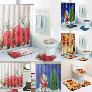 Image Is Loading 4pc Bathroom Christmas Shower Curtain Pedestal Rug Lid