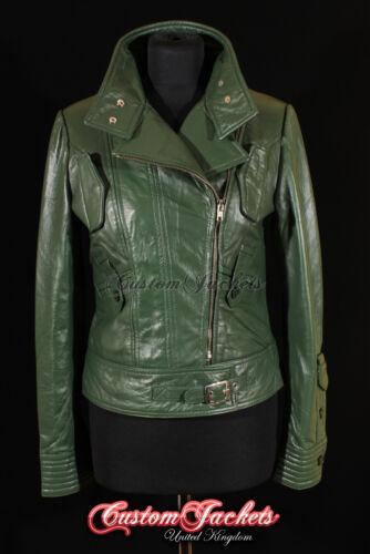 Girls Fashion Green Designer Ladies Cosmopolitan Rock 4110 Jacket Leather Real vwXISp