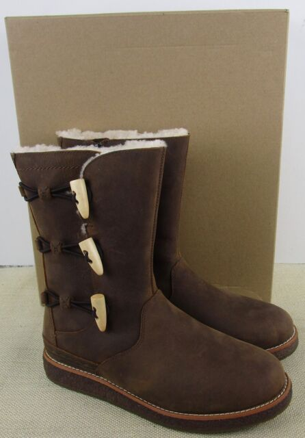 BROWN LEATHER REAL FUR LINED BOOTS