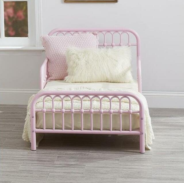Toddler Bed Frame Rail Sides Girl Vintage Metal Child Bedroom Kids Pink NEW