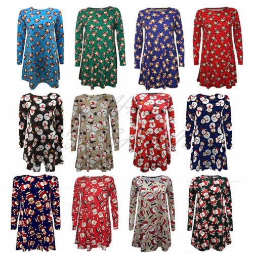 Ladies Xmas Santa Snowman Print Swing Dress Plus Size Shirt Top