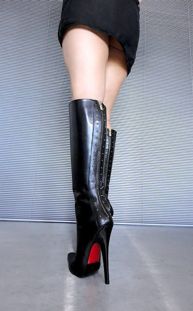 CQ COUTURE KNEE FERMETURE ÉCLAIR EXTREME HEELS BOOTS BOTTES STIEFEL STIEFEL STIEFEL LEATHER 539855
