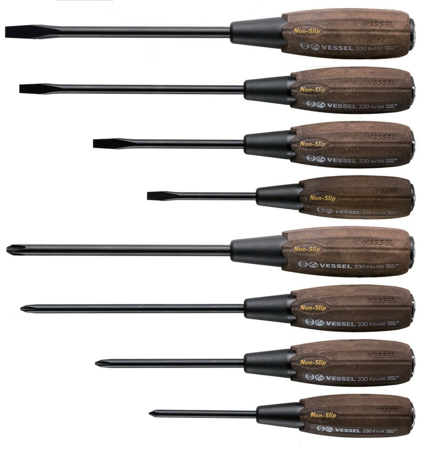 VESSEL / WOOD COMPO TANG-THRU SCREWDRIVER SET 8PCS / B-330-SET / MADE IN JAPAN